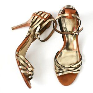Coach gold tan strappy heels Kamea sandals
